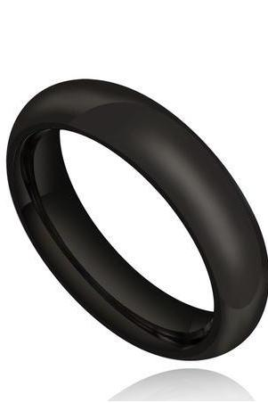 Stainless Steel 6mm Black Comfort Fit Polished Plain Wedding Band Ring