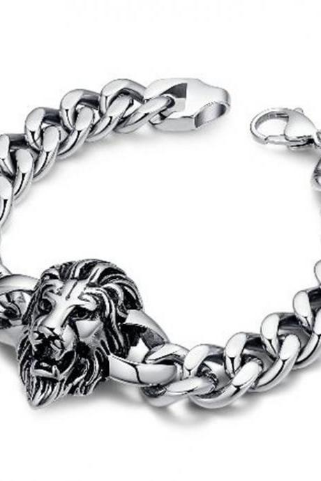 Men's Biker Lion Curb Chain Link Bracelet