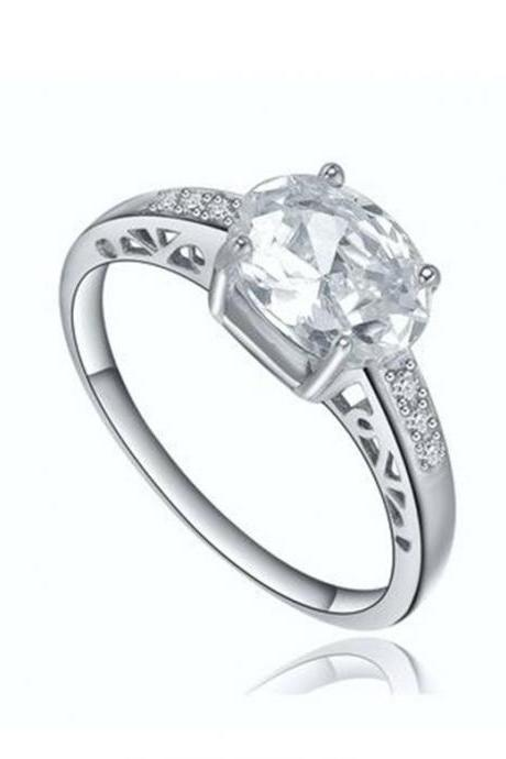 Stainless Steel Oval Cubic Zirconia Solitaire Womens Engagement Wedding Ring