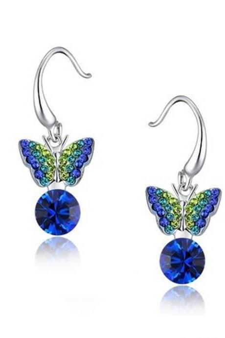Sleeping Butterfly Round Austrian Crystal Drop Earrings