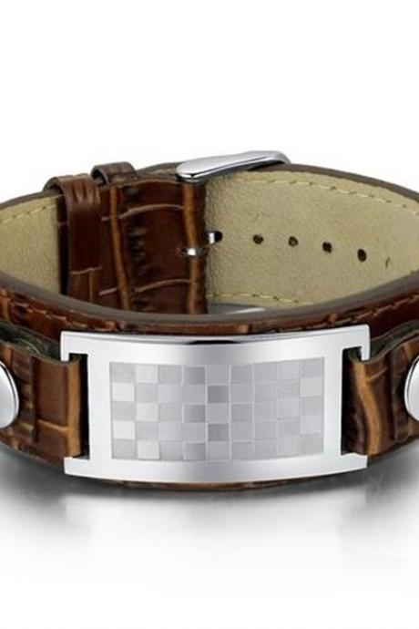 Leather and Stainless Steel Checker Pattern Belt Buckle Unisex Bracelet