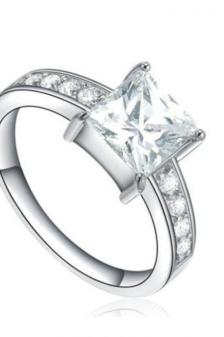 Stainless Steel Princess Cut and Round Cubic Zirconia Womens Engagement Ring