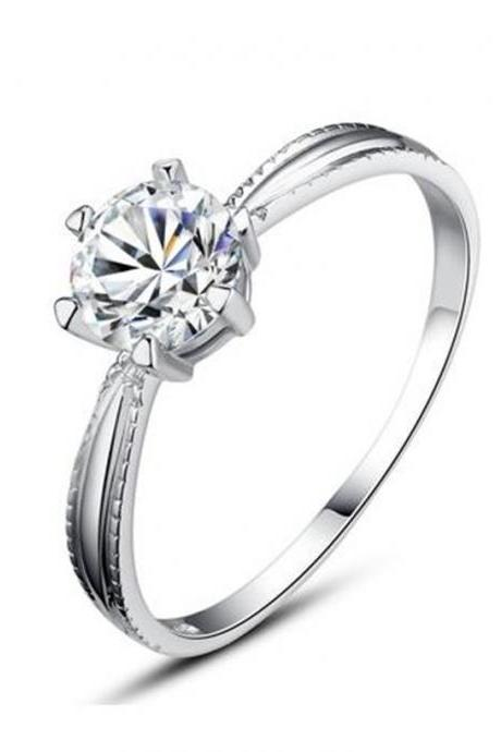 Sterling Silver Round Cubic Zirconia Solitaire 6-Prong Lightweight Girls Ring