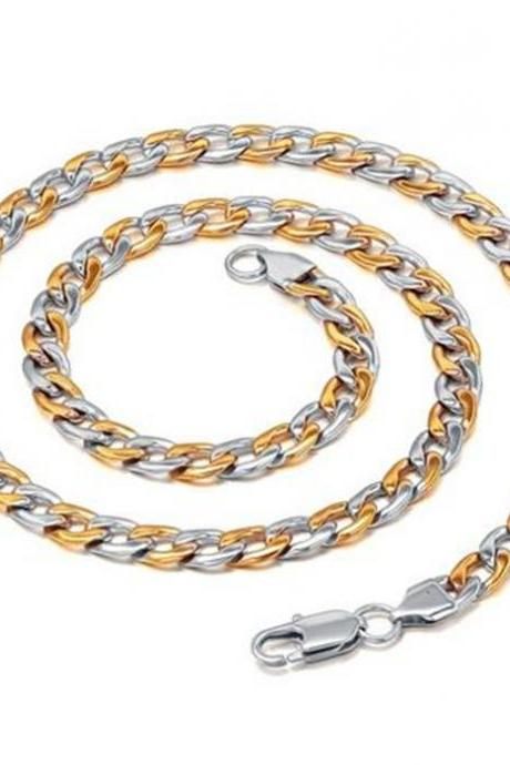 Stainless Steel Men's 7mm Two-tone Oval Link Chain Necklace