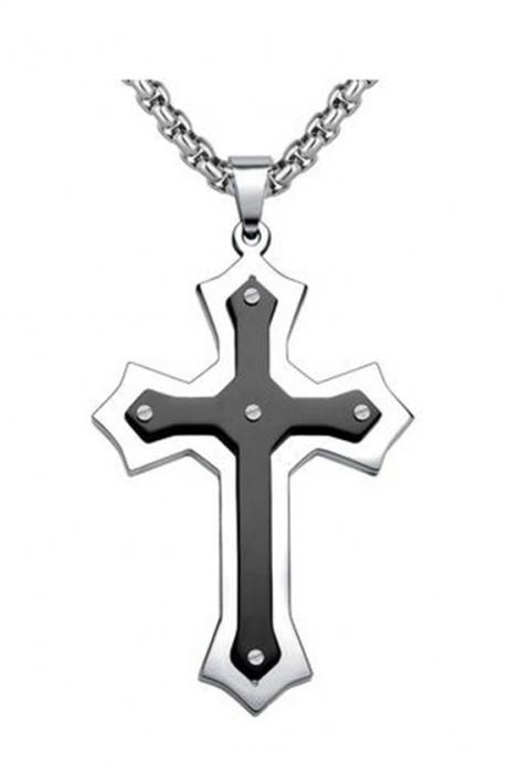 Stainless Steel Men's Large Fleur De Lis Cross Pendant Necklace