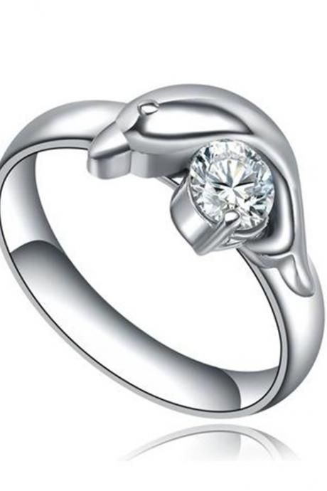 Stainless Steel Dolphin W. Cubic Zirconia Womens Wedding Ring