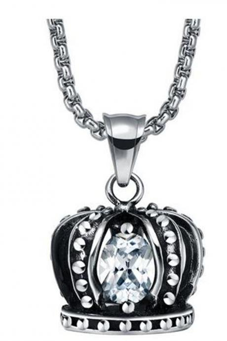 Stainless Steel Men's Lion Head Centered Cross W. Crystal Eyes Pendant Necklace