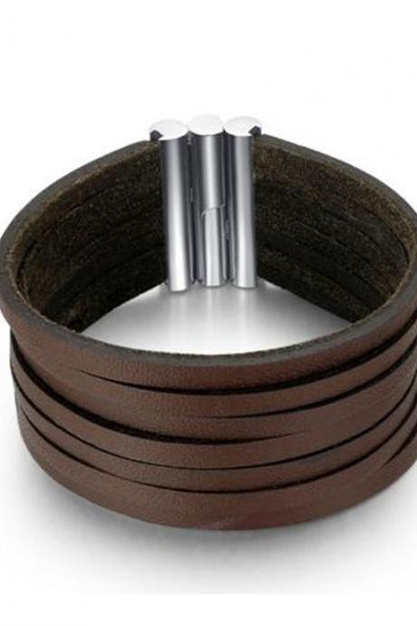 Leather Strips and Stainless Steel Clasp Unisex Cuff Bracelet