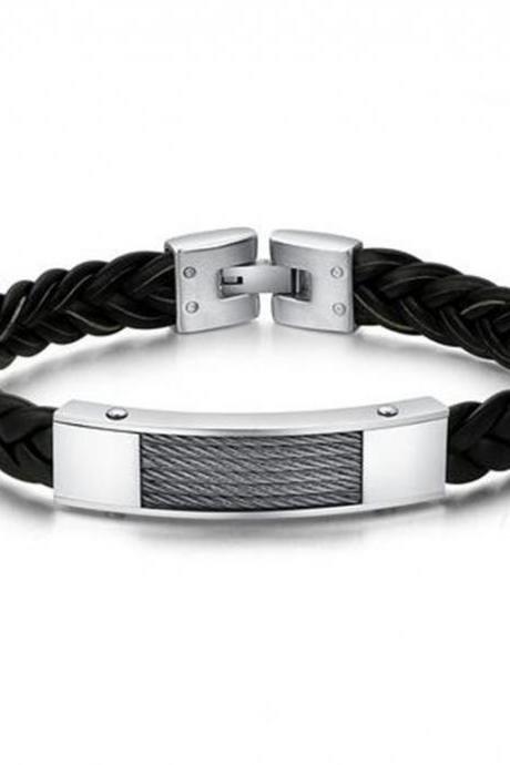 Braided Leather and Stainless Steel Cable Chain Style Men's Bracelet