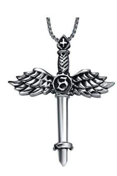 Stainless Steel Men's Angel Wing Sword Cross Pendant Necklace