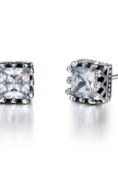 Stainless Steel Vintage Crown W. Square Cubic Zirconia Stud Earrings