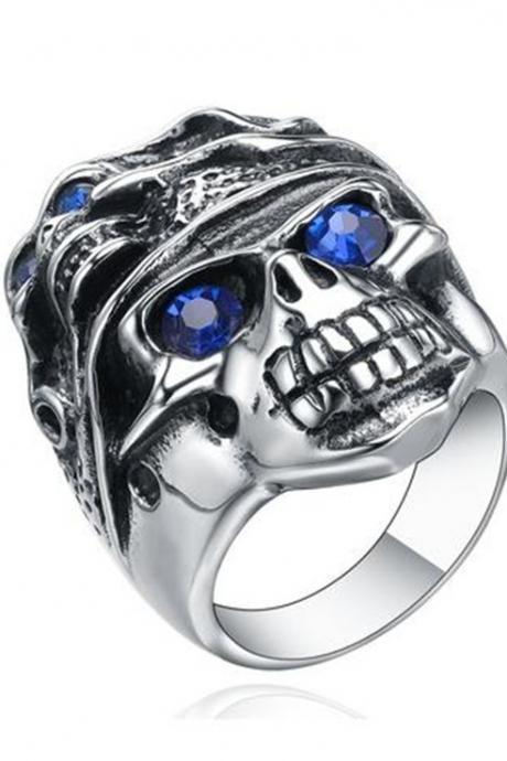 Stainless Steel Gothic Blue Crystal Eye Skull Mens Biker Ring