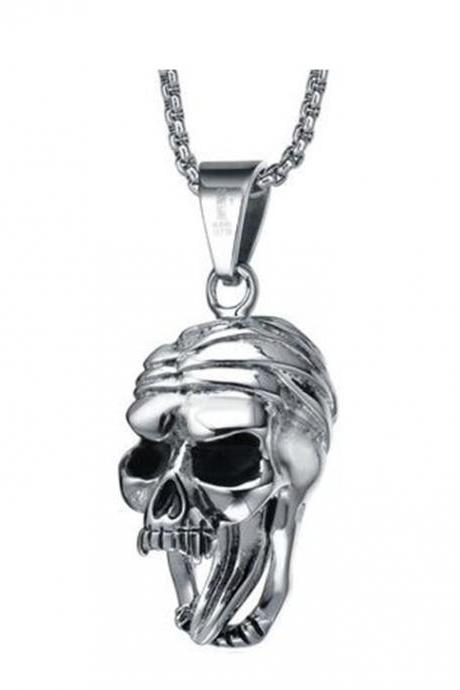 Stainless Steel Men's Gothic Open Mouth Skull with Moving Tongue Pendant Necklace