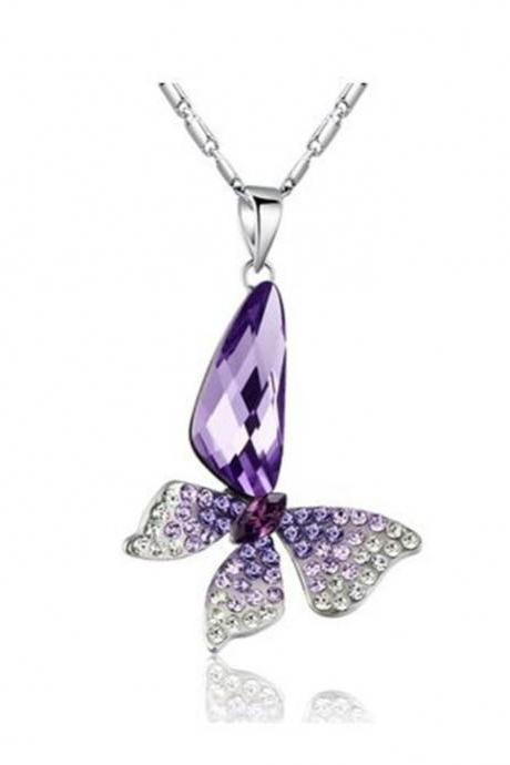 Butterfly Wing Drop Swarovski Elements Crystal Pendant Necklace