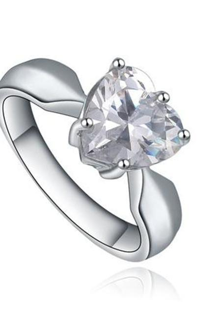 Stainless Steel Heart Shape Cubic Zirconia Solitaire Womens Engagement Ring