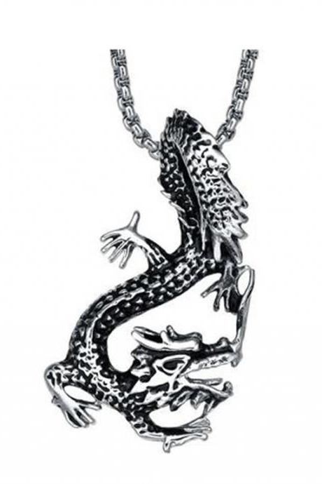 Stainless Steel Men's Dangling Dragon Pendant Necklace