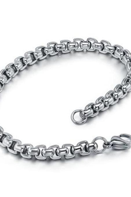 Stainless Steel Men's Silver Tone Round Link Bracelet