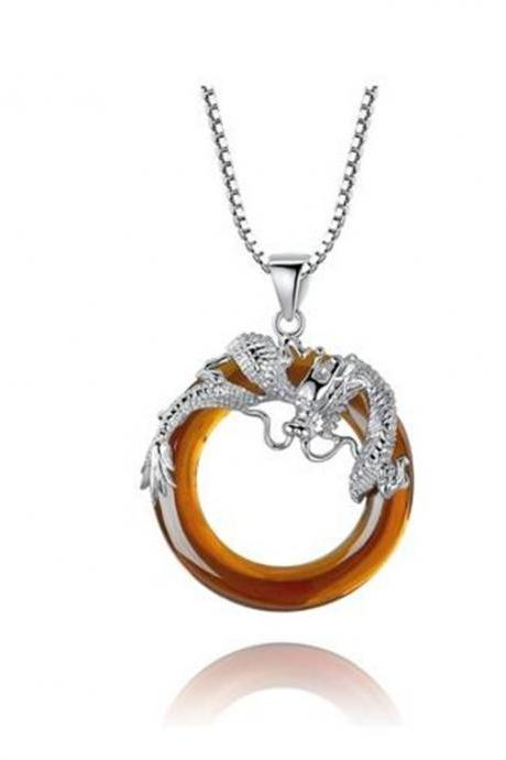 Sterling Silver Dragon W. Orange Onyx Ring Pendant Necklace