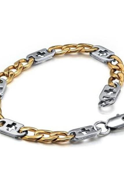 Stainless Steel Men's Two-tone Cross Tag Link Bracelet