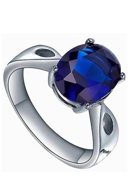 Stainless Steel Oval Blue Cubic Zirconia Solitaire Womens Engagement Wedding Ring