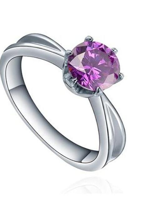 Stainless Steel Round Purple Cubic Zirconia Solitaire Womens Engagement Ring