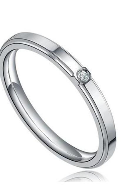 Stainless Steel 2mm CZ Centered Womens Wedding Band Ring