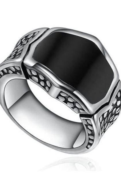 Stainless Steel Men's Vintage Black Enamel Ring