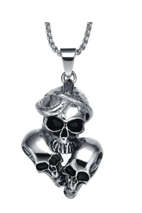 Stainless Steel Men's Gothic Snake Entangling Triple Skulls Pendant Necklace
