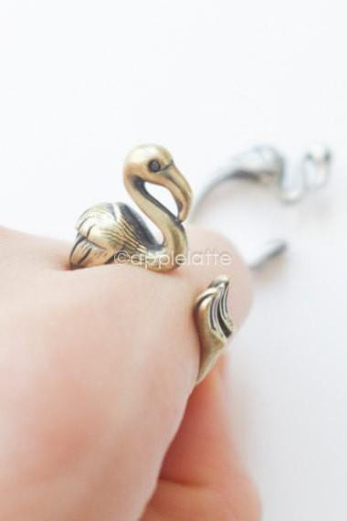 Hot Sale Flamingo Animal Wrap Golden Color Rings for Women and Girls