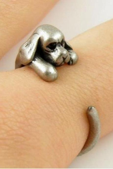 Retro Adjustable Cocker Spaniel Dog Animal Wrap Ring