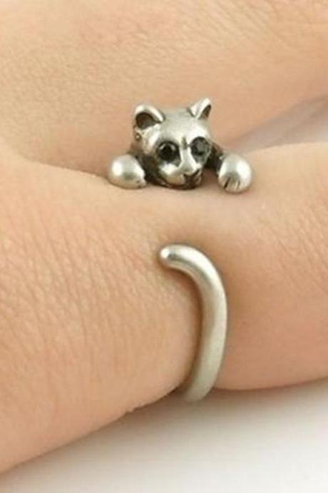 Retro Adjustable Ring-Kitten Animal Wrap Ring