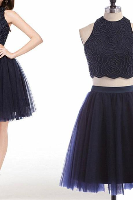 Two-piece Homecoming Dress,Homecoming Dresses For Party,High Neck Beading Dress