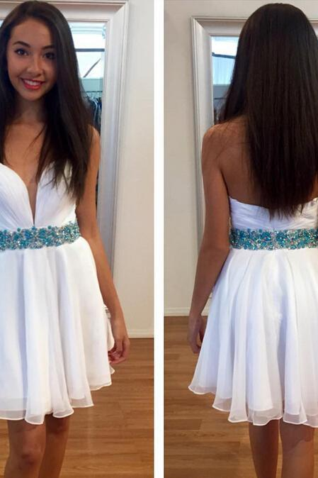 Strapless White Short Homecoming Dress,Homecoming Dresses,Cocktail Dress