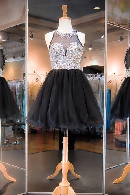 Dress For Homecoming,Organza Rhinestone Luxury Homecoming Dresses,Homecoming Dress