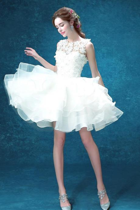 Pure White Appliques Top Short Homecoming Dress , Puffy Organza Homecoming Dresses