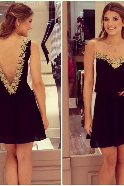 Chiffon Short Summer Homecoming Dress with Lace Sleeveless, Open Back Mini Homecoming Dresses