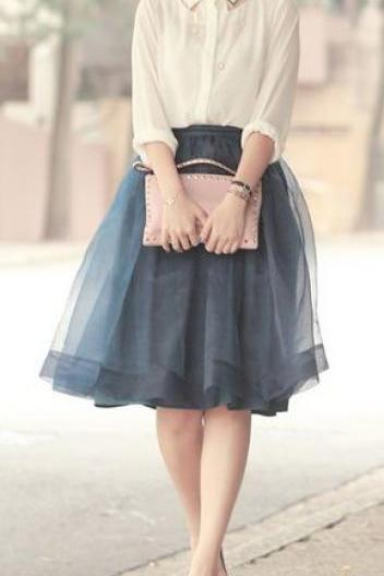 Grey Chiffon Sweet Skirt ,Homecoming Dresses