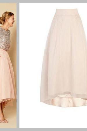 High Low Long Skirt,Chiffon Skirt,,A-Line Skirt,Homecoming Dress