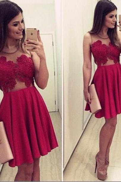 Sexy Red Lace O-Neck Homecoming Dress,Homecoming Dresses,Prom Dress