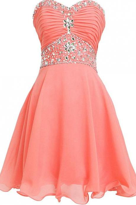 Sweetheart A-Line Beading Homecoming Dress,Short Mini Prom Dress,Homecoming Dresses