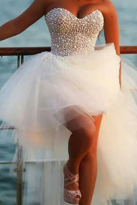Beading Sweetheart Floor-Length Homecoming Dress,White Chiffon Homecoming Dresses