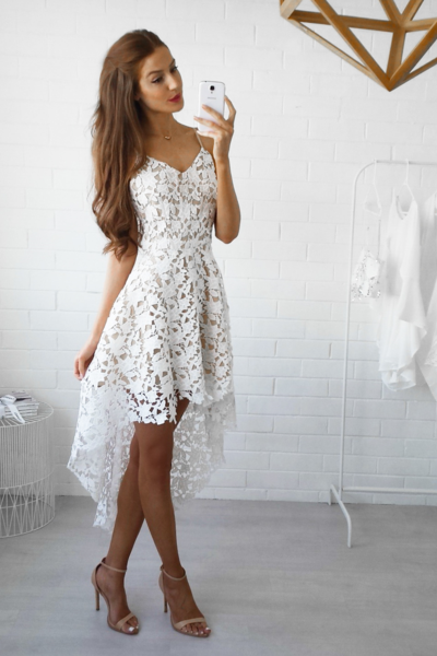 Glamorous Lace White Homecoming Dress,High Low Sweet Homecoming Dress,Prom Dress