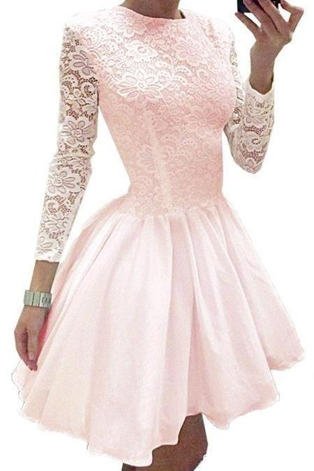 Pink/Black Mini A-line Lace Homecoming Dress,Long Sleeves Prom Dress,Short Homecoming Dresses