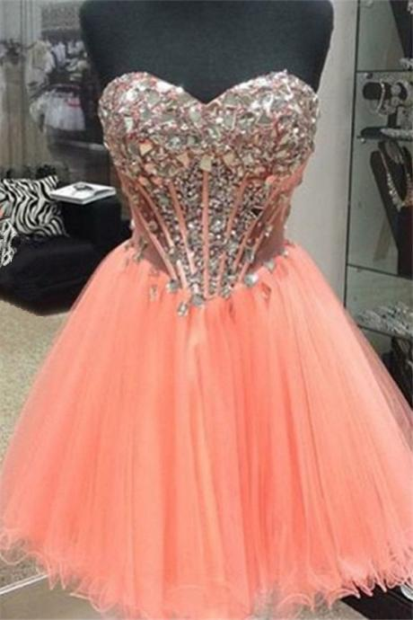 Sweetheart Crystal Homecoming Dress,Strapless Homecoming Dresses,Prom Dress