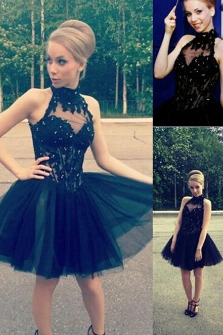 A-Line Mini Short Homecoming Dress,Black Homecoming Dresses,Cocktail Dress