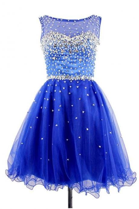 Crystals Beaded Short Homecoming Dresses,Organza Sheer Prom Dress,Dress For Homecoming
