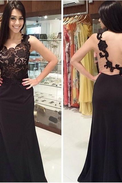 Black Mermiad Appliques Prom Dress,Backless Long Prom Dresses
