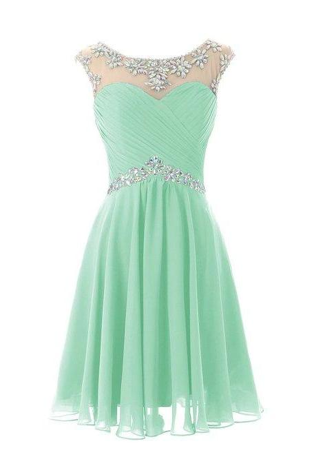 Adorable Short Chiffon Homecoming Dress,Round Neckline Homecoming Dresses With Beadings Mint Green