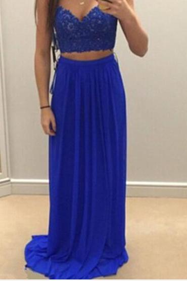 Royal Blue Two Pieces Prom Dress, Floor Length Prom Dress,Prom Dresses