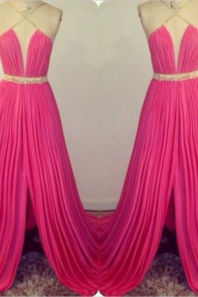 Fushica Floor Length Slit Chiffon Prom Dresses, Sexy Halter Prom Dress